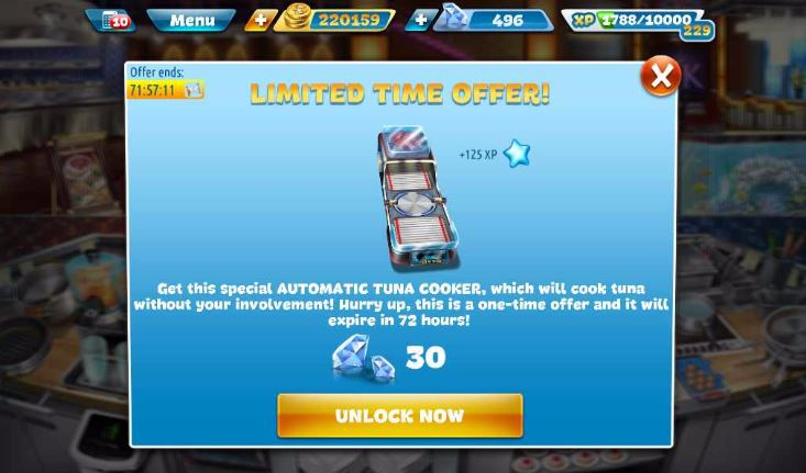 Cooking Fever Hell's Kitchen Automatic Tuna Cooker